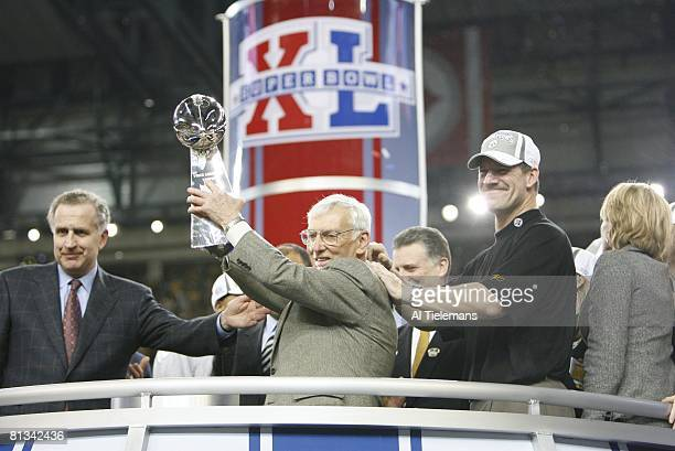 Football Super Bowl XL Pittsburgh Steelers owner Dan Rooney victorious with trophy after winning game vs Seattle Seahawks Detroit MI 2/5/2006