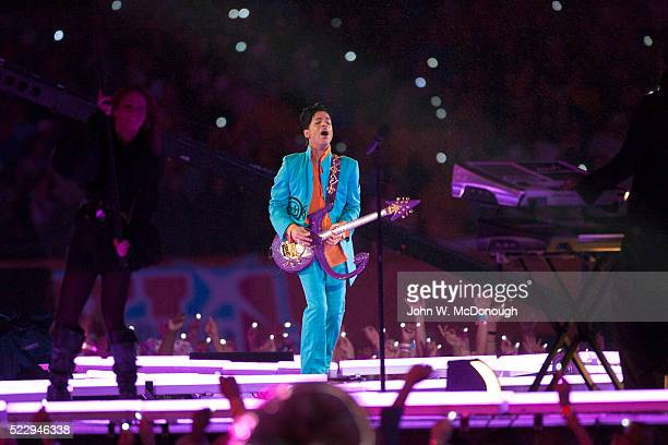 Super Bowl XLI Singer Prince performing halftime show during Indianapolis Colts vs Chicago Bears game at Dolphin Stadium Miami FL CREDIT John W...