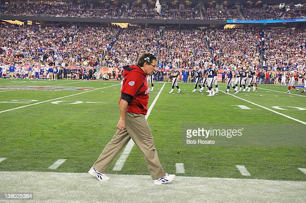 Super Bowl XLII: New England Patriots head coach Bill Belichick on sidelines during game vs New York Giants at University of Phoenix Stadium....