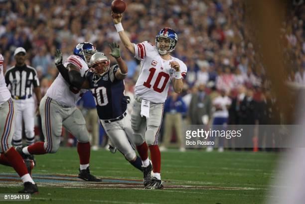 Football Super Bowl XLII New York Giants QB Eli Manning in action making pass vs New England Patriots Glendale AZ 2/3/2008