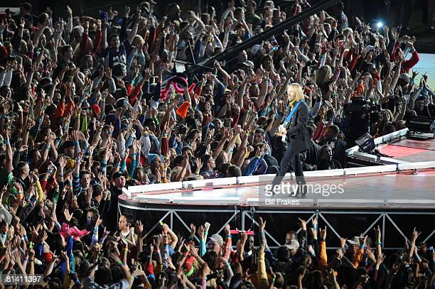 Football Super Bowl XLII Tom Petty and The Heartbreakers performing half time show during New England Patriots vs New York Giants game Glendale AZ...