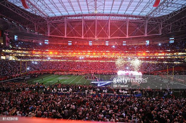 Football Super Bowl XLII Tom Petty and The Heartbreakers performing half time show during New England Patriots vs New York Giants game View of U of...
