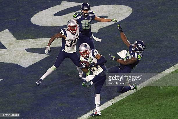 Super Bowl XLIX New England Patriots Malcolm Butler in action making interception on goalline vs Seattle Seahawks during final drive in 4th quarter...