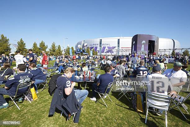 Super Bowl XLIX Overall view of tailgater outside of stadium before New England Patriots vs Seattle Seahawks game at University of Phoenix Stadium...