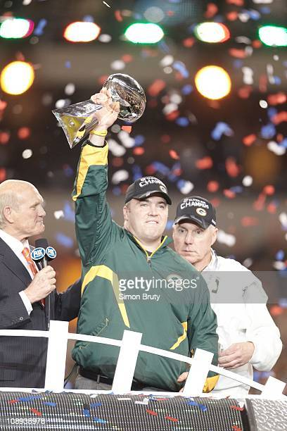 Super Bowl XLV Green Bay Packers coach Mike McCarthy victorious with Vince Lombardi trophy after winning game vs Pittsburgh Steelers at Cowboys...