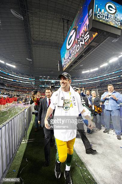 Super Bowl XLV Green Bay Packers QB Aaron Rodgers victorious after winning game vs Pittsburgh Steelers at Cowboys StadiumArlington TX 2/6/2011CREDIT...
