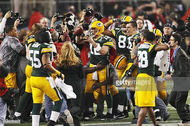 Super Bowl XLV Green Bay Packers QB Aaron Rodgers victorious after winning game following the final snap vs Pittsburgh Steelers at Cowboys...