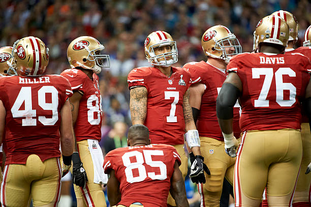 ... Super Bowl XLVII1 picture. Embed. EmbedLicense. San Francisco 49ers Colin  Kaepernick (7) with teammates during game vs Baltimore Ravens at 5ec990ee2