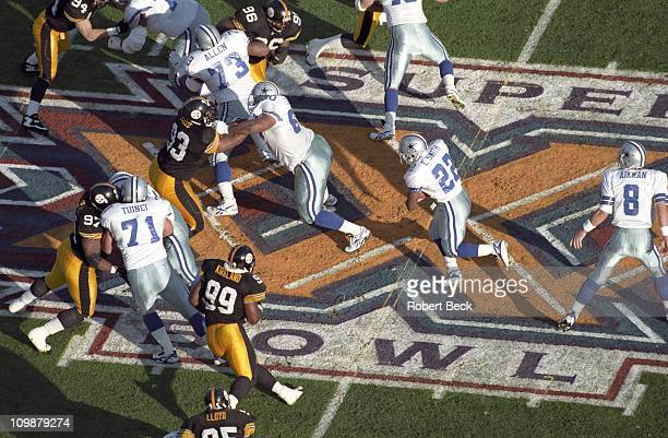 Super Bowl XXX Aerial view of Dallas Cowboys Emmitt Smith in action rushing vs Pittsburgh Steelers at Sun Devil Stadium Tempe AZ 1/28/1996CREDIT...