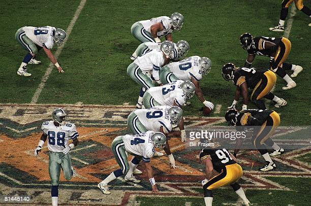 Football Super Bowl XXX Dallas Cowboys at line of scrimmage during game vs Pittsburgh Steelers Tempe AZ 1/28/1996