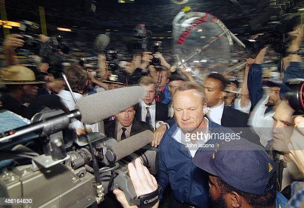 Super Bowl XXX Dallas Cowboys head coach Barry Switzer victorious exiting field after winning game vs Pittsburgh Steelers at Sun Devil Stadium Tempe...