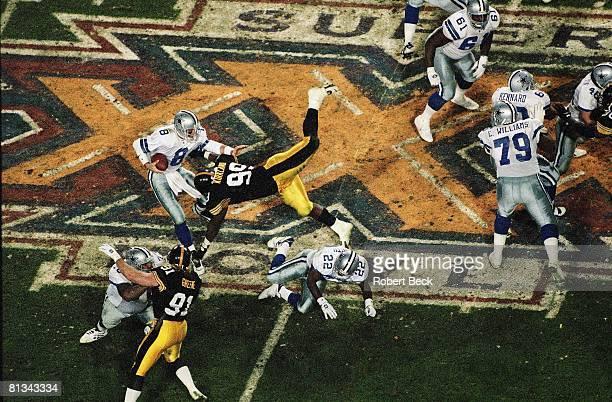Football Super Bowl XXX Dallas Cowboys QB Troy Aikman in action vs Pittsburgh Steelers Levon Kirkland Tempe AZ 1/28/1996