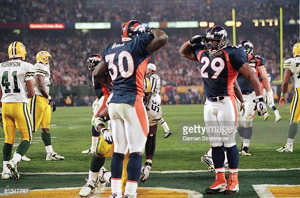 Football Super Bowl XXXII Denver Broncos Howard Griffith and Terrell Davis victorious during game vs Green Bay Packers San Diego CA 1/25/1998