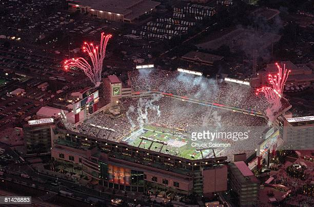 Football: Super Bowl XXXV, Aerial view of Baltimore Ravens in action vs New York Giants at Raymond James Stadium with fireworks, Tampa, FL 1/28/2001