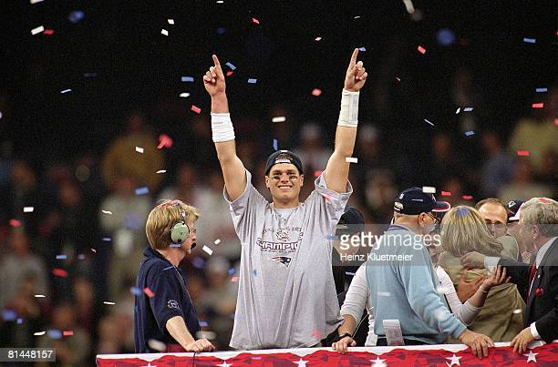 Football: Super Bowl XXXVI, New England Patriots QB Tom Brady victorious after game vs St, Louis Rams, New Orleans, LA 2/3/2002