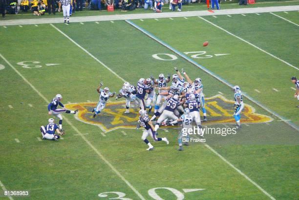Football: Super Bowl XXXVIII, New England Patriots Adam Vinatieri in action, making game winning 41-yard kick vs Carolina Panthers, Houston, TX...