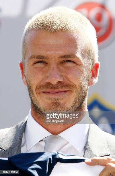 Football superstar David Beckham at the David Beckham Official Presentation press conference at the Home Depot Center on July 12 2007 in Carson...