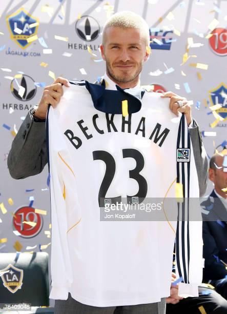 Football superstar David Beckham showing his new jersey at the David Beckham Official Presentation press conference at the Home Depot Center on July...
