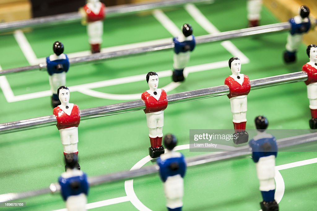 Football table players in a line : Stock Photo