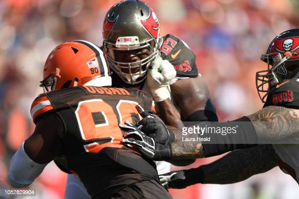 Tampa Bay Buccaneers Demar Dotson in action vs Cleveland Browns Emmanuel Ogbah at Raymond James Stadium Tampa FL CREDIT Laura Heald