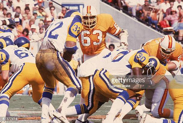 Football Tampa Bay Buccaneers Lee Roy Selmon in action playing defense vs Los Angeles Rams Tampa FL 9/23/1979