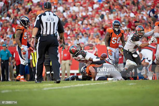 Tampa Bay Buccaneers QB Jameis Winston during game vs Denver Broncos Derek Wolfe at Raymond James Stadium Tampa FL CREDIT Kevin Liles
