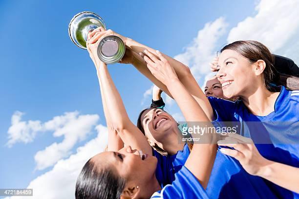 Football team celebrating a victory