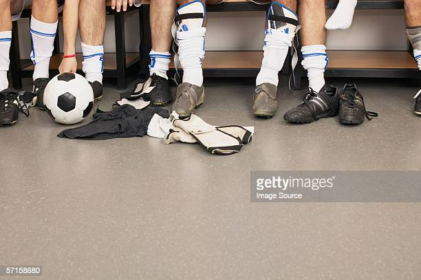 Football team in changing room