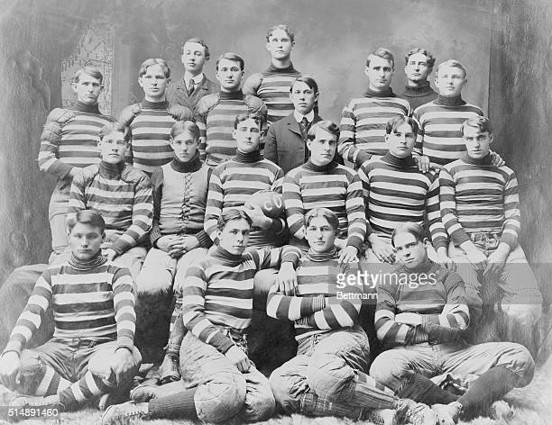 Football team in typical team pose of the early 1900's. Oklahoma University.