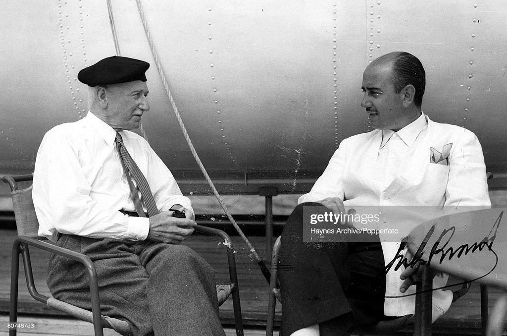 Football 1949. The president of FIFA Jules Rimet (left), in conversation with an Argentine FA official. : News Photo