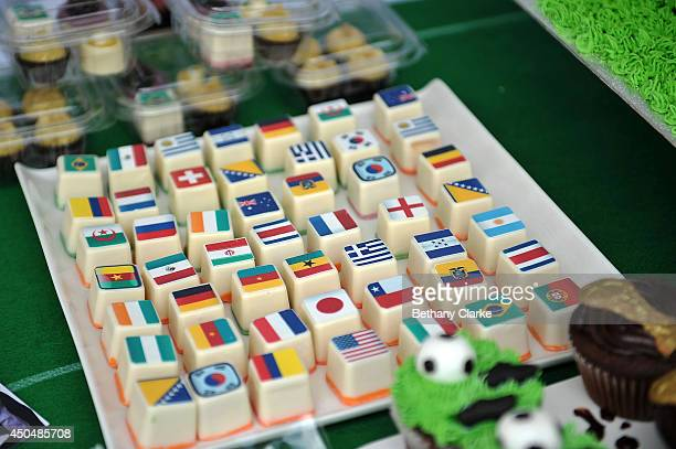 Football themed cakes and sweets on sale during the celebrations at Trafalgar Square on June 12 2014 in London England The 20th FIFA Football World...