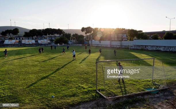 football training at sunset in alacati. - emreturanphoto stock pictures, royalty-free photos & images