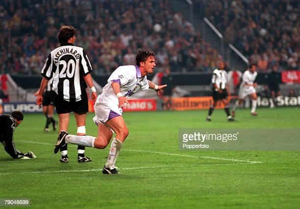 Football UEFA Champions League Final Amsterdam Holland 20th May 1998 Real Madrid 1 v Juventus 0 Real Madrid's Predrag Mijatovic races away to...