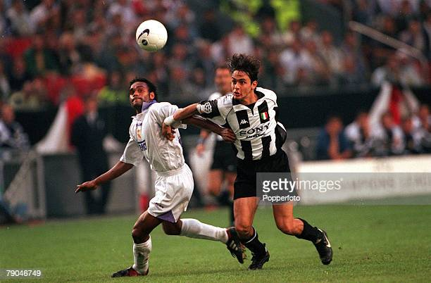 Football UEFA Champions League Final Amsterdam Holland 20th May 1998 Real Madrid 1 v Juventus 0 Real Madrid's Christian Karembeu is opposed by...