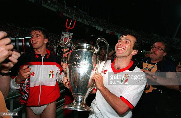 Football UEFA Champions League Final Athens Greece 18th May 1994 AC Milan 4 v Barcelona 0 AC Milan's Christian Panucci and Dejan Savicevic celebrate...