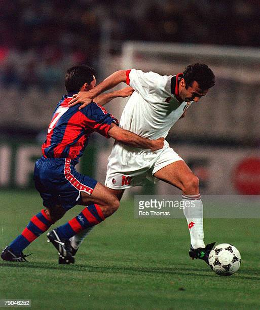 Football UEFA Champions League Final Athens Greece 18th May 1994 AC Milan 4 v Barcelona 0 AC Milan's Dejan Savicevic is held by Barcelona's Sergi