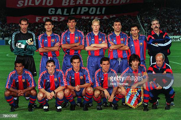 Football UEFA Champions League Final Athens Greece 18th May 1994 AC Milan 4 v Barcelona 0 The Barcelona team lineup together for a group photograph...