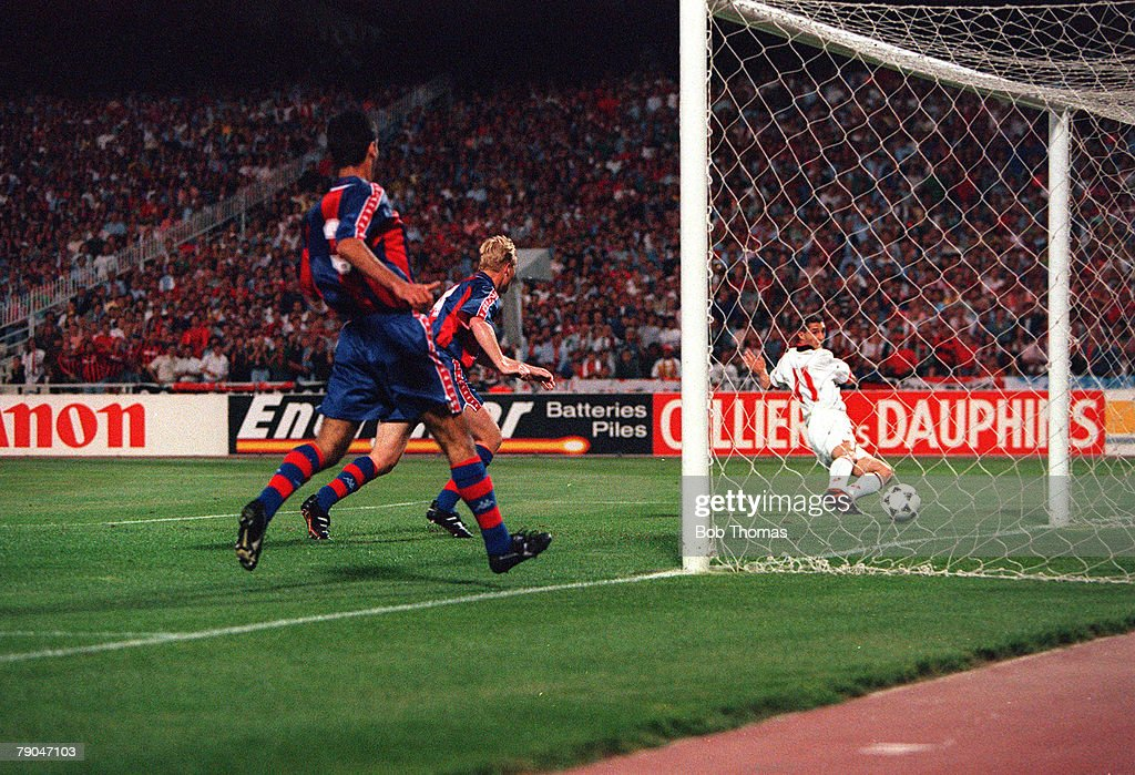Football. UEFA Champions League Final. Athens, Greece. 18th May 1994. AC Milan 4 v Barcelona 0. AC Milan's Daniele Massaro (far right) scores the first of his two goals in the game. : News Photo