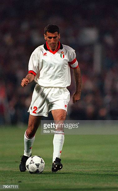 Football UEFA Champions League Final Athens Greece 18th May 1994 AC Milan 4 v Barcelona 0 AC Milan captain Mauro Tassotti