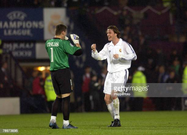 Football UEFA Champions League Final Hampden Park Glasgow 15th May 2002 Real Madrid 2 v Bayer Leverkusen 1 Real Madrid's Steve McManaman and...
