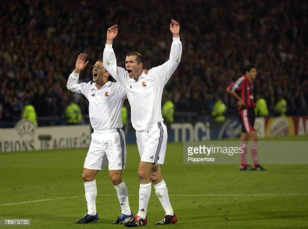 Football UEFA Champions League Final Hampden Park Glasgow 15th May 2002 Real Madrid 2 v Bayer Leverkusen 1 Real Madrid's Zinedine Zidane and Michel...