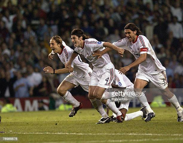 Football UEFA Champions League Final Manchester England 28th May 2003 Juventus 0 v AC Milan 0 Milan won 3 2 on penalties Massimo Ambrosini Kakha...