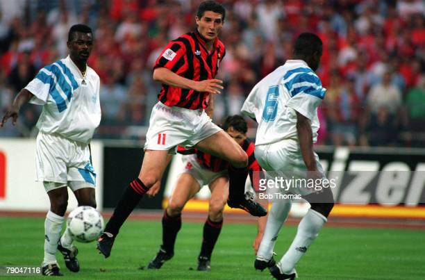Football UEFA Champions League Final Munich Germany 26th May 1993 Marseille 1 v AC Milan 0 AC Milan's Daniele Massaro is on the attack