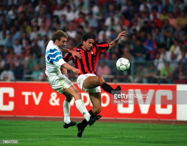 Football UEFA Champions League Final Munich Germany 26th May 1993 Marseille 1 v AC Milan 0 Marseille's Rudi Voller and AC Milan's Alessandro...