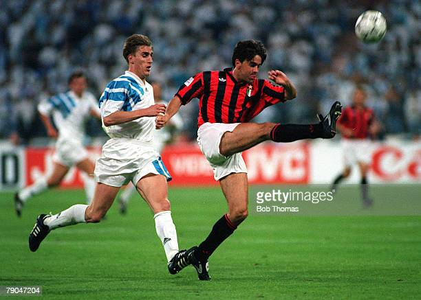 Football UEFA Champions League Final Munich Germany 26th May 1993 Marseille 1 v AC Milan 0 AC Milan's Alessandro Costacurta clears the ball from...