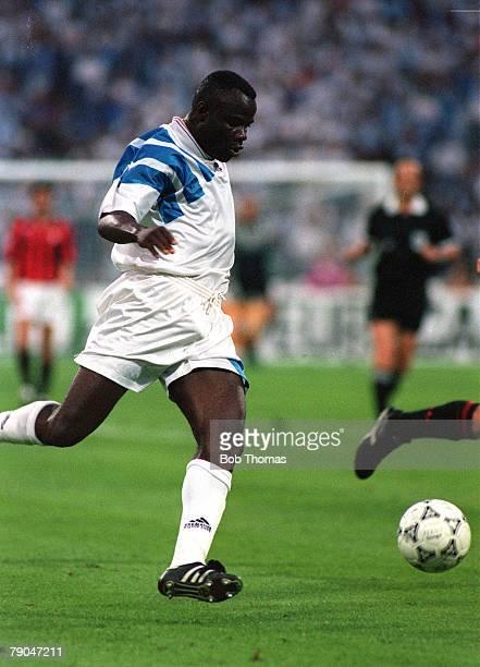 Football UEFA Champions League Final Munich Germany 26th May 1993 Marseille 1 v AC Milan 0 Marseille's Basile Boli