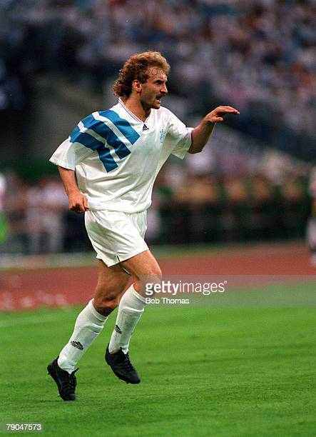 Football UEFA Champions League Final Munich Germany 26th May 1993 Marseille 1 v AC Milan 0 Marseille's Rudi Voller