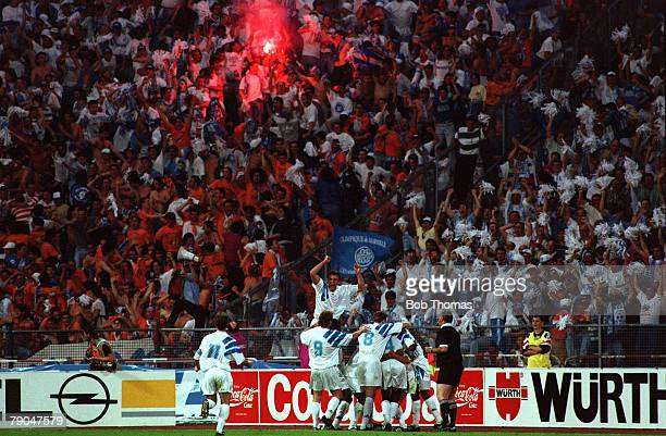 Football UEFA Champions League Final Munich Germany 26th May 1993 Marseille 1 v AC Milan 0 The Marseille players celebrate with their supporters...