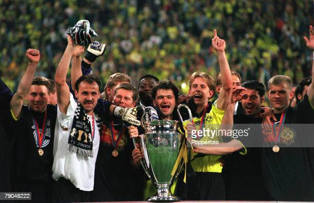 Football UEFA Champions League Final Munich Germany 28th May 1997 Borussia Dortmund 3 v Juventus 1 Borussia Dortmund players celebrate with the...