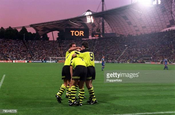 Football UEFA Champions League Final Munich Germany 28th May 1997 Borussia Dortmund 3 v Juventus 1 Borussia Dortmund's Karlheinz Riedle is...